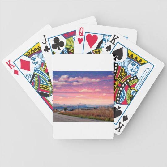 Pink and Purple Sky Bicycle Playing Cards