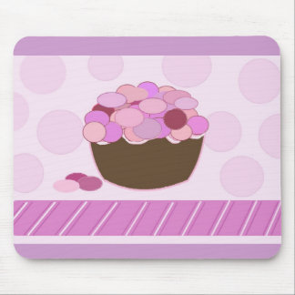 Pink and Purple Smartie Cupcake Mouse Pad