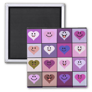 Pink and Purple Smiley Hearts 2 Inch Square Magnet