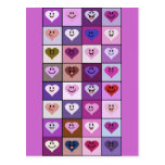 Pink and Purple Smiley Hearts Postcard