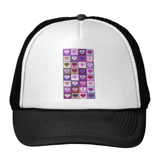 Pink and Purple Smiley Hearts Trucker Hat
