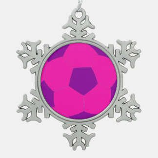 Pink and Purple Soccer Ball Snowflake Pewter Christmas Ornament
