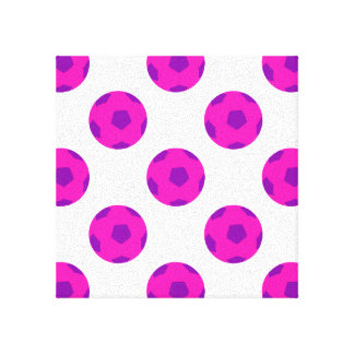 Pink and Purple Soccer Ball Pattern Canvas Print