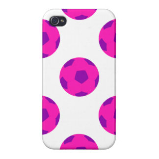 Pink and Purple Soccer Ball Pattern iPhone 4/4S Cases