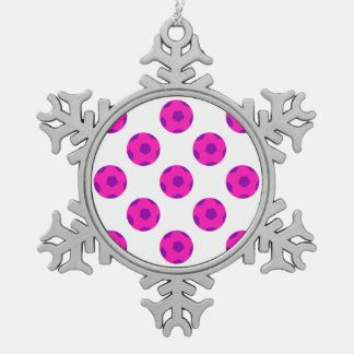 Pink and Purple Soccer Ball Pattern Snowflake Pewter Christmas Ornament