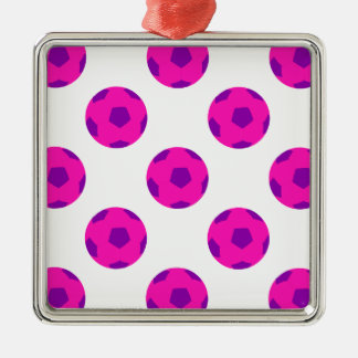 Pink and Purple Soccerball Pattern Square Metal Christmas Ornament