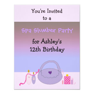 Pink and Purple Spa Birthday Party Invitation