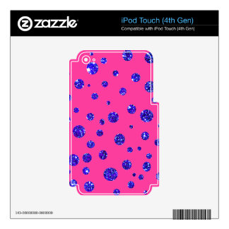 Pink and Purple Sparkle Polka Dots Fun iPod Touch 4G Decal