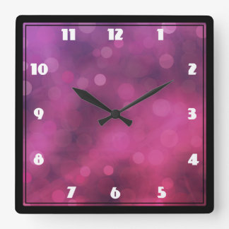 Pink and Purple Sparkling Lights Bokeh Pattern Square Wall Clock