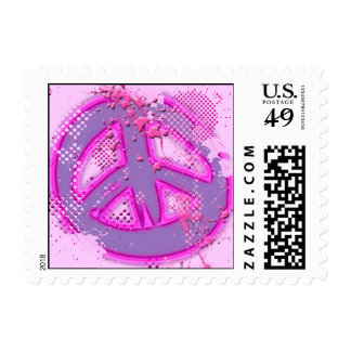 PINK AND PURPLE SPLATTER PEACE SIGN POSTAGE