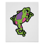 pink and purple spotted tree frog poster
