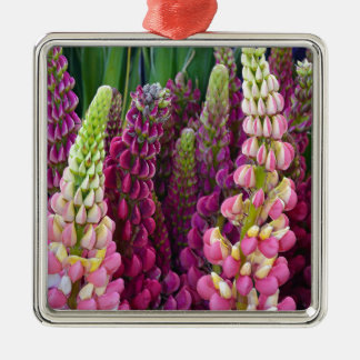 Pink and purple spring lupin flower garden metal ornament