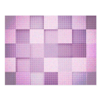 Pink and purple square pattern postcard
