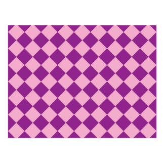 Pink and purple squares pattern postcard
