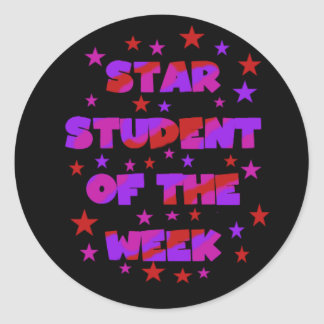 Pink and Purple Star Student of Week Stickers