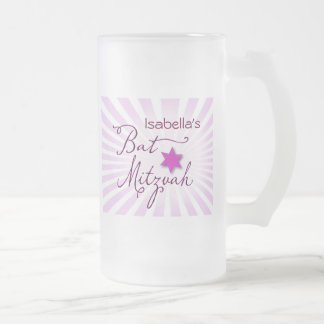 Pink and purple starburst Bat Mitzvah Frosted Glass Beer Mug