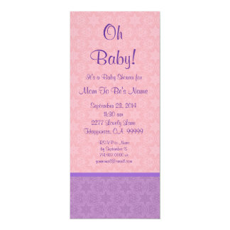 Pink and Purple Stars Girl Baby Shower B610 Card