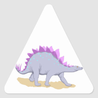 Pink and Purple Stegosaurus Dinosaur Triangle Sticker