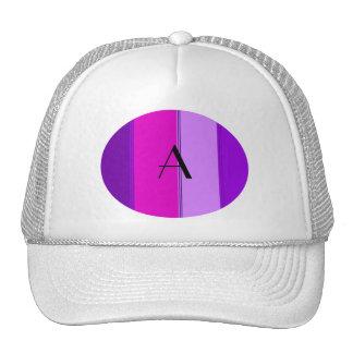 Pink and purple stripes monogram trucker hat