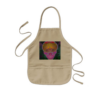 Pink and Purple Sugar Skull with Cross and Flowers Kids' Apron