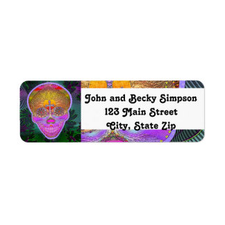 Pink and Purple Sugar Skull with Cross and Flowers Custom Return Address Labels