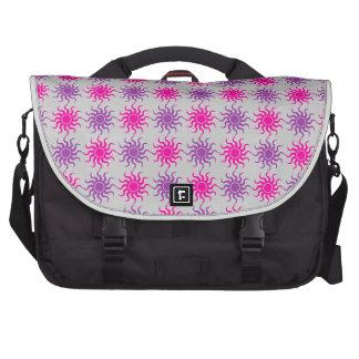 Pink and purple sun pattern illustration laptop commuter bag