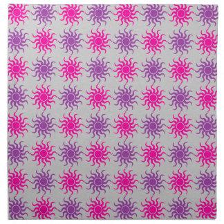Pink and purple sun pattern illustration printed napkins