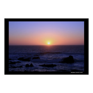 Pink and Purple Sunset over the ocean Poster