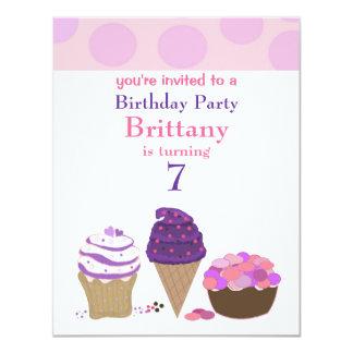 Pink and Purple Sweet Treats Birthday Invitation