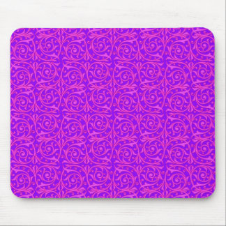 Pink and Purple Swirling Vines Pattern Mouse Pad