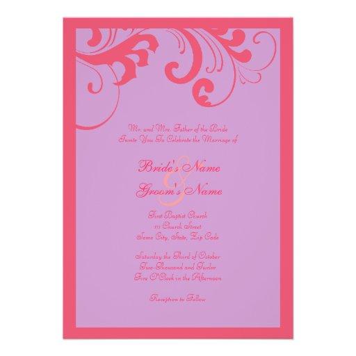 Pink And Purple Swirls Frame Wedding Invitation 5 X 7 Invitation Card