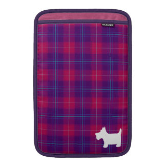 Pink and Purple Tartan with Scottie Dog Silhouette Sleeves For MacBook Air