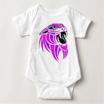 Pink and Purple Tiger Head Baby Bodysuit