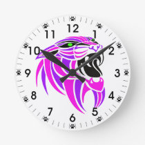 Pink and Purple Tiger Head Round Clock