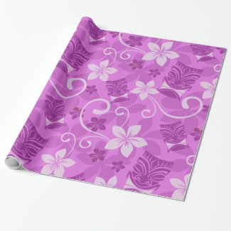 Pink and Purple Tikis Hawaiian Wrapping Paper