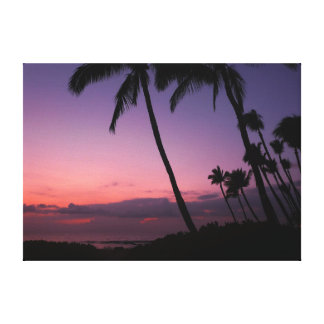 Pink and purple tropical sunset canvas print