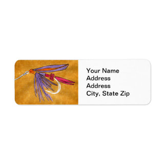"""""""Pink and Purple"""" Trout Fly Return Address Label"""