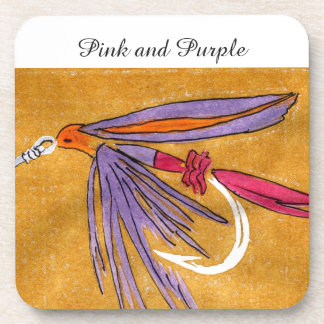 """""""Pink and Purple"""" Trout Wet Fly Coaster"""
