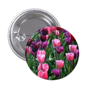 Pink and Purple Tulips Button / Badge