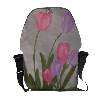 Pink and Purple Tulips Courier Bag