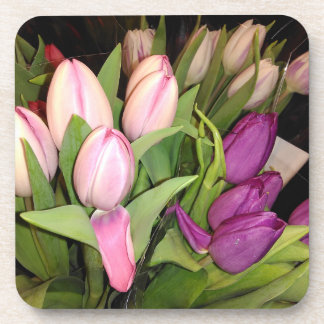 Pink And Purple Tulips Drink Coaster