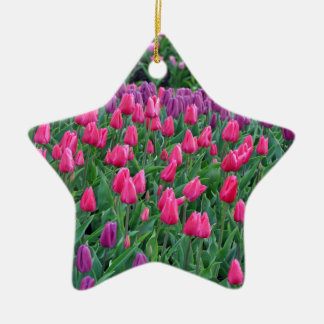 Pink and purple tulips spring garden ceramic ornament
