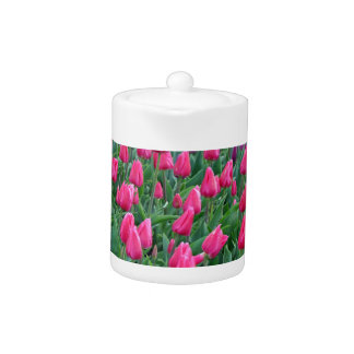 Pink and purple tulips spring garden teapot