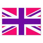 "Pink and Purple Union Jack 3.5"" X 5"" Invitation Card"
