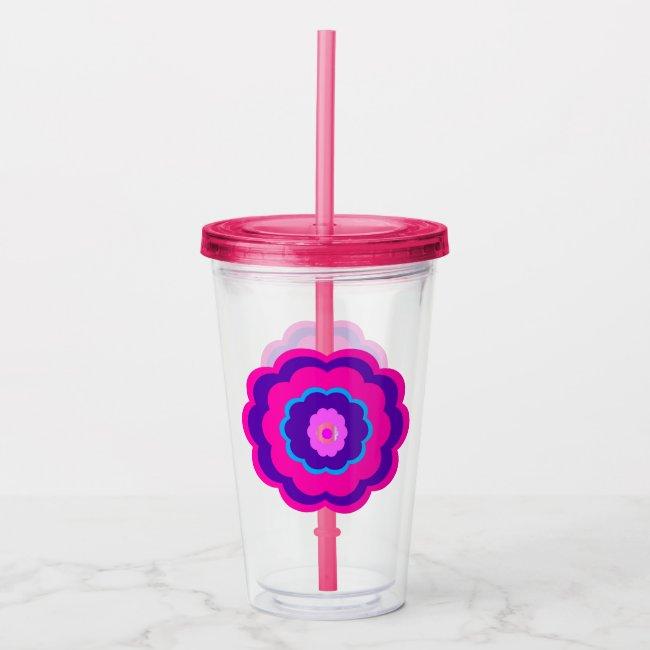 Pink and Purple Valentine Flower Acrylic Tumbler