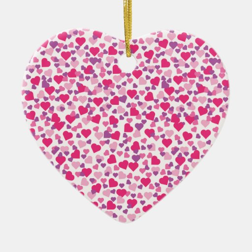 Pink and Purple Valentine Hearts Christmas Ornament