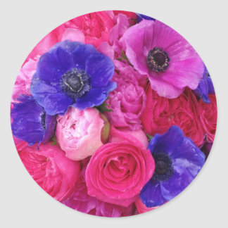 Pink and Purple Vibrant Floral Stickers Seals