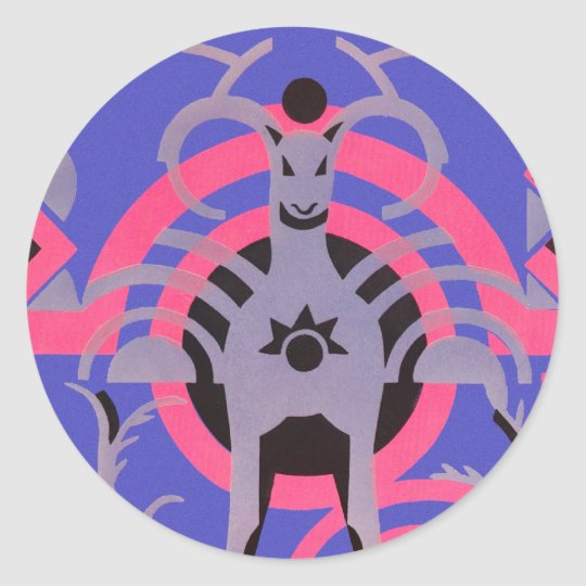 Pink and Purple Vintage Art Deco Animal Classic Round Sticker