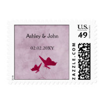 pink and purple vintage butterflies postage