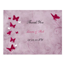 pink and purple vintage butterfly Thank You Postcard